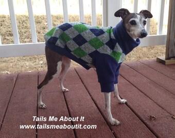 Blue, Green, and Grey Argyle Sweatshirt - Italian Greyhound, Chinese Crested, Whippet, Hairless Breeds