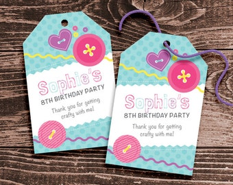 Personalized Craft or Sewing Party Favor Tags – DIY Printable – Hang Tags (Digital File)