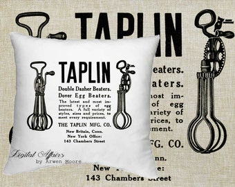Digital Download Kitchen Collection Vintage Chic Tapling Beaters Black & White Image For Papercrafts, Transfer, Pillows, Totes, Etc va019