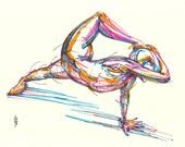Yoga Art -- Original color drawing on paper // Bound Side Plank