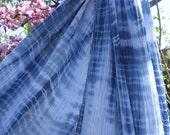 """Gauze Scarf Cotton Shibori Indigo Blue White Willow Pattern 28""""x 122"""" Lightweight Wrap Natural Plant Dye Shibori Indigo Fabric Cotton Gauze"""