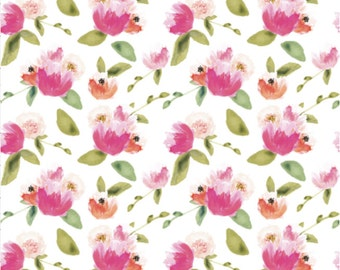 Gatsby Peonies Custom Fabric By Ivie Cloth Co - Floral Cotton Fabric by the Yard with Spoonflower