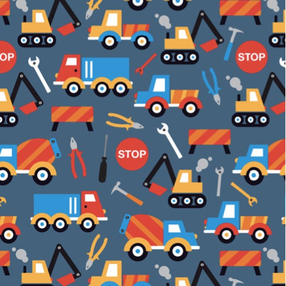 Construction truck tool fabric kids construction truck tool for Little blue truck fabric