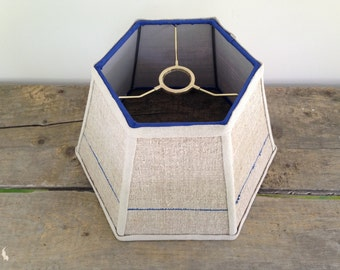 """Blue Stripe Uno Lamp Shade Lampshade Grain Sack Fabric - For Bridge Lamp, Threads onto lamp socket - hard to find - 7""""x12""""x8"""" high - Country"""