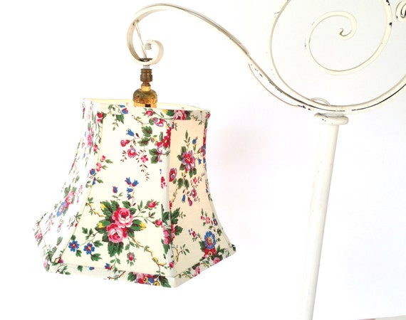 Vintage Fabric Uno Lamp Shade Threaded Lampshade For Bridge