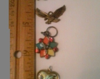Lot of Four Charms Pendants Mixed Metals