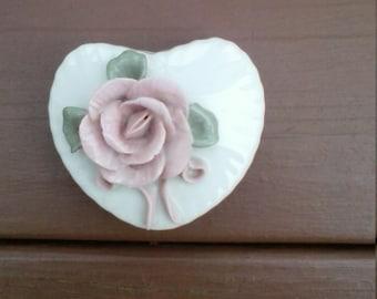 Sweet Rose Porcelain Heart Trinket Box