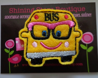 Hair Accessories - Felt Hair Clip - Yellow, Black, And Pixie Pink Embroidered Felt Nerdy Or Geeky School Bus Hair Clippie - Back To School