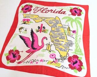 Vintage Florida handkerchief scarf silk tagged flamingo souvenir 1950s kitsch Floridiana Valentines