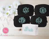 Set of 5 bridesmaid makeup bags , bridesmaid accesory bags, monogrammed bag, wedding bag , bridesmaid gifts , personalized bridesmaid gifts