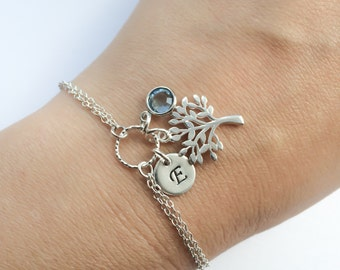 Adjustable Personalized Tree of Life Bracelet - Birthstone, Initial and Tree Bracelet in Sterling Silver