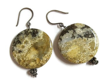 Moss Agate Stone Disc Dangle Earrings Vintage Polished