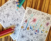 "Hello Color-Your-Own Greeting Card // Blank Illustrated Coloring Friendship Birthday Anniversary Colouring Love Gift Card 4"" x 5"""