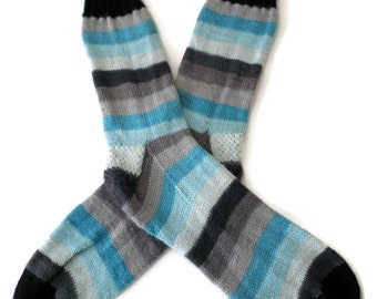 Socks - Hand Knit Men's Striped Blue and Gray Socks - Size 11-12 - Casual Socks - Weekend Socks