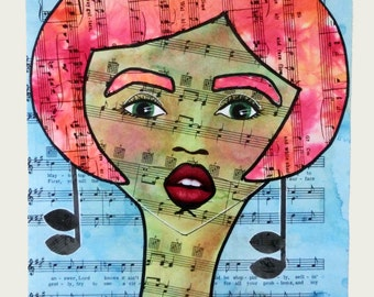 Original Mixed Media Art Whimsical Sheet Music Lady Wall Art Miss Molly