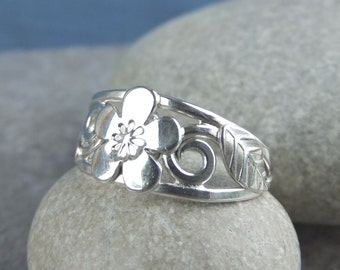 Cherry Blossom - Flower and Leaves Sterling Silver Ring - Handmade Metalwork Wirework Jewelry - Wide Band Flower Ring - Hand Stamped