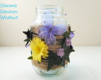 Twine Wrapped Mason Jar Vase With Floral Embellishments -
