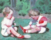 Children from the past / Original acrylic painting-vintage painting -Folk art painting -Children playing in green grass