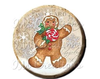 "30% OFF - Pocket Mirror, Magnet or Pinback Button - Favors - 2.25""- Vintage Christmas Gingerbread Man MR305"