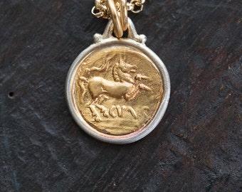 Tiny Golden Horse Pendant