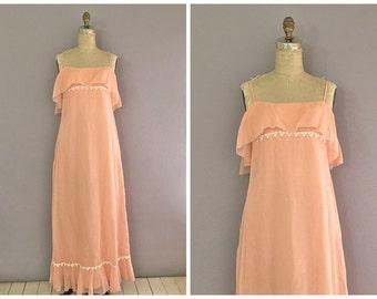 70s peach maxi dress • vintage peach evening dress