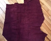 Lovely bordeaux color (aubergine) lambsuede leather - a cutting of 5 square feet