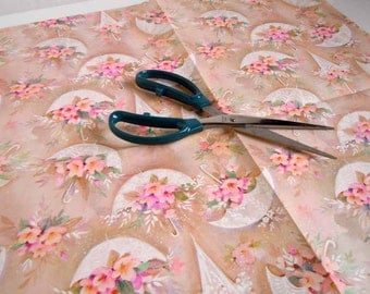 1970s Wedding Gift Wrap Paper   Brown Tan Pink Wrapping Paper   Flowers Floral Umbrellas Parasols