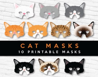 All 10 Cat Mask Designs   40% OFF   Printable Cat Masks - 2 Sizes of Each