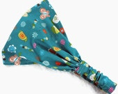 Baby headscarf, toddler hair scarf, yoga headband, women beach headscarf, child bandana, sport hair wrap, newborn, cotton turban teal bugs