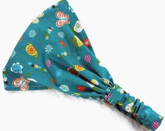 Baby bandana headscarf, toddler newborn hair wrap, girl wide headband, child bandana, beach pool swim summer sport cotton teal bugs flowers