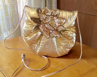 Vintage 80s Gold Metallic Faux Alligator Skin Evening Bag with Sequin and Beaded Applique