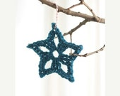 Winter Clearance Christmas ornament, package tie ons, hand crocheted star,  peacock