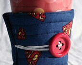 Winter Clearance Cup cozy Superman Coffee cozy / coffee cup sleeve fabric quilted  Superman super hero