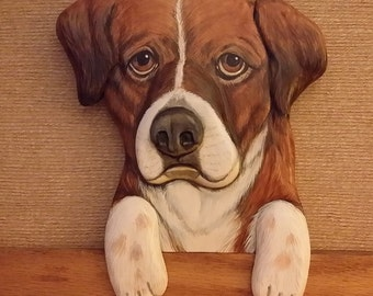 Pet Portraits - Custom - Hand Carved of Wood - Hand Painted - Door Toppers - Your Pet