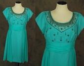 vintage 50s Silk Wiggle Dress - 1950s Beaded Chiffon Evening Dress - 1950s Aqua Blue Silk Cocktail Dress Sz L