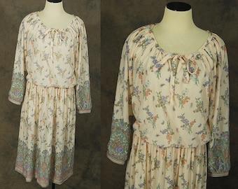 vintage 70s Dress - 1970s Boho Sheer Floral Paisley Dress Sz L