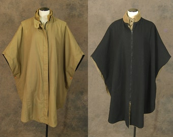 Clearance Sale vintage 80s Cocoon Coat - 1980s Avant Garde Oversized Draped Reversible Khaki Twill Black Wool Coat Sz S M L Xl