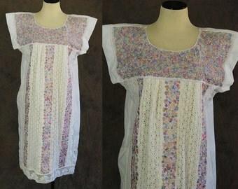 vintage Mexican Peasant Dress - 1970s Embroidered Crochet Lace Dress - 70s Ethnic Tent Dress Sz L XL