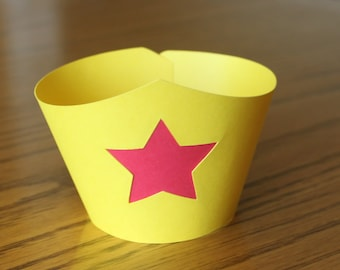 Wonder Woman Inspired Cupcake Wrappers -- Set of 12