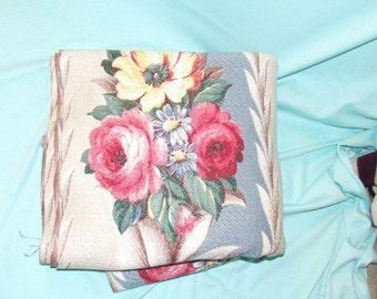 Vintage Fabric Glen Court Bark Cloth Yardage Slate Blue and Roses