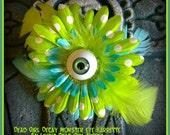 Hair Barrette: Dead Girl Decay -  Monster Eyeball Flower Feather Lime Green Blue Polka Dot Psychobilly Pinup Handmade Accessory
