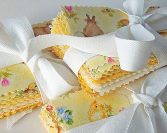 Spring Patchwork Mini Fabric Bundle, Spring Patchwork Mini Charm Pack, 50 rectangles of yellow cotton fabric for patchwork and quilting