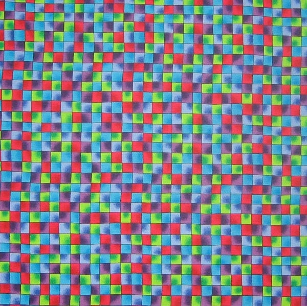 Red blue green checked fabric coloured squares bramble for Little blue truck fabric