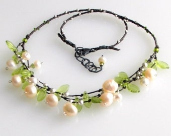 Heart Sale Signature Pearl Peridot and Silver Bib Necklace, White Pearl Bib & Green Glass Leaves on Knotted Linen, Nature, Weddings, Prom, H