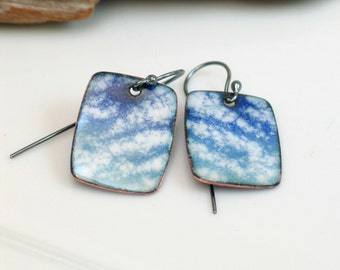 Blue and White Dangle Earrings Cloud Image, Copper Enamel Earrings, Artisan Handmade Original, Sky Watching,  WillOaks Studio