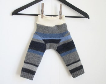 woolies - longies - wool baby pants - SMALL 1 to 6 months -blue and gray stripes - merino wool interlock and recycled sweaters