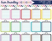 60% OFF SALE Lined Clipboard Clipart Graphics Personal & Commercial Use Note Paper To Do List Clip Art