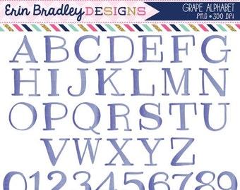 60% OFF SALE Grape Clipart Alphabet Digital Scrapbooking Alpha Instant Download Commercial Use Clip Art