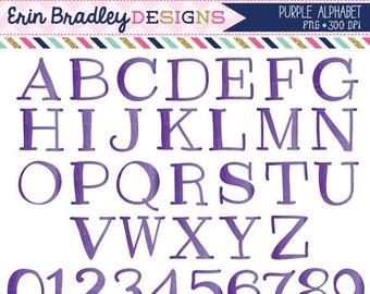 60% OFF SALE Purple Clipart Alphabet Digital Scrapbooking Alpha Instant Download Commercial Use Clip Art
