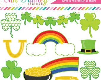 St. Patricks Day Clipart, Shamrock Clip Art, Commercial Use Holiday Clipart, Pot of Gold & Rainbow Clip Art